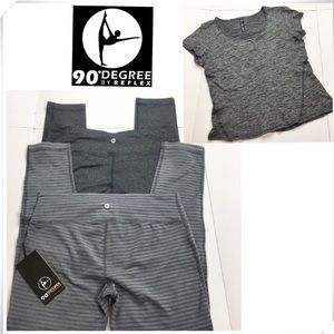 3 Bundle 90°Degree Leggings & Tee Shirt 3 Set